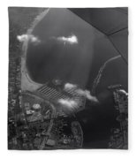 Long Beach Ca Aerial Bw Fleece Blanket