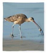 Long-billed Curlew Catching Crab Fleece Blanket