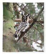 Long Eared Owl At Attention Fleece Blanket