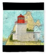 Long Eddy Pt Lighthouse Nb Canada Chart Art Peek Fleece Blanket
