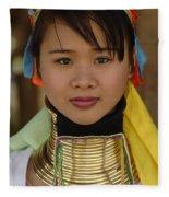 Long Necked Woman Of Thailand Fleece Blanket