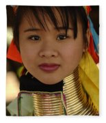 Long Necked Woman Thailand 4 Fleece Blanket