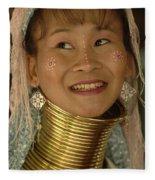 Long Necked Woman Thailand 5 Fleece Blanket