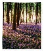 Long Shadows In Bluebell Woods Fleece Blanket
