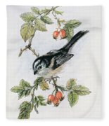 Long Tailed Tit And Rosehips Fleece Blanket