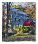 Longfellow's Wayside Inn Grist Mill In Autumn Fleece Blanket
