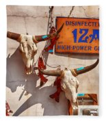 Longhorn Skulls On The Wall Fleece Blanket
