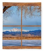Longs Peak Across The Lake Barn Wood Picture Window Frame View Fleece Blanket