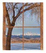 Longs Peak Winter Lake Barn Wood Picture Window View Fleece Blanket