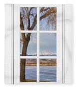 Longs Peak Winter View Through A White Window Frame Fleece Blanket