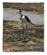 Look Out For That Egret- Mother Stilt Said Fleece Blanket