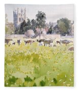 Looking Across Christ Church Meadows Fleece Blanket