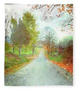 Looking Down The Road Fleece Blanket