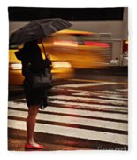 Looking For A Taxi - Rush Hour New York Fleece Blanket