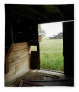 Looking Out Old Barn Fleece Blanket