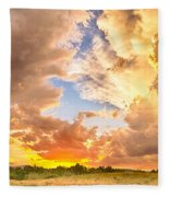 Looking Through The Colorful Sunset To Blue Fleece Blanket