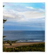 Looking West At The Fishing Boats Fleece Blanket