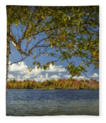 Loon Lake In Autumn With White Birch Tree Fleece Blanket