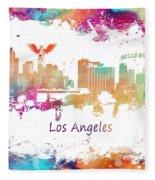 Los Angeles California Skyline Colored Fleece Blanket