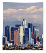 Los Angeles Skyline With Mountains In Background Fleece Blanket