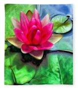 Lotus Blossom And Cloud Reflection Fleece Blanket