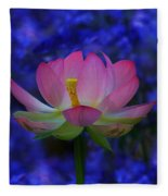 Lotus Flower In Blue Fleece Blanket