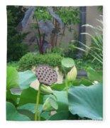 Lotus Flower In Lily Pond Fleece Blanket