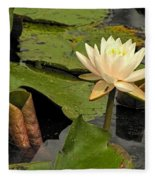 Lotus Flower In White Fleece Blanket