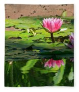Lotus Flower Reflections Fleece Blanket