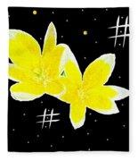 Lotus On Black Fleece Blanket