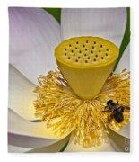 Lotus Pollinator Fleece Blanket