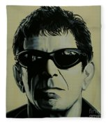 Lou Reed Painting Fleece Blanket by Paul Meijering
