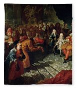 Louis Xiv 1638-1715 Receiving The Persian Ambassador Mohammed Reza Beg In The Galerie Des Glaces Fleece Blanket