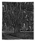 Louisiana Moon Rising Monochrome 2 Fleece Blanket