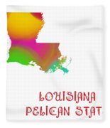 Louisiana State Map Collection 2 Fleece Blanket