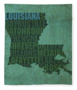 Louisiana Word Art State Map On Canvas Fleece Blanket by Design Turnpike