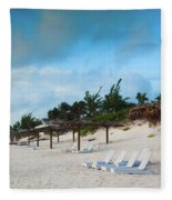 Lounge Chairs And Parasol On Pink Sands Fleece Blanket
