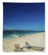 Lounge Chairs And Traditional Boat On Puka Beach In Boracay Phil Fleece Blanket