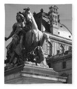 Louvre Man On Horse Fleece Blanket