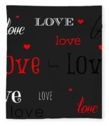 Love And Hearts Fleece Blanket
