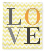 Love Chevron Yellow Fleece Blanket