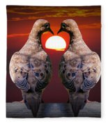 Love Dove Birds At Sunset Fleece Blanket