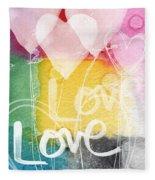 Love Hearts Fleece Blanket by Linda Woods