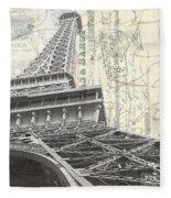 Love Letter From Paris Square Fleece Blanket