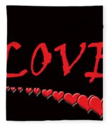 Love On Black Fleece Blanket