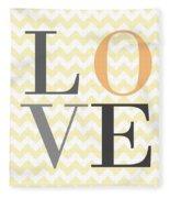 Love On Chevron Peach Fleece Blanket