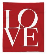 Love On Red Fleece Blanket