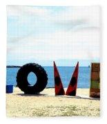 Love On The Beach Found Art Outer Banks Fleece Blanket