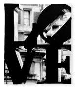 Love Philadelphia Black And White  Fleece Blanket