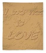 Love Quote Typography On Sand Fleece Blanket